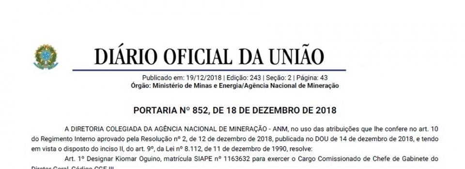 Publicada Portaria de nomeação e designação de funcionários para a ANM
