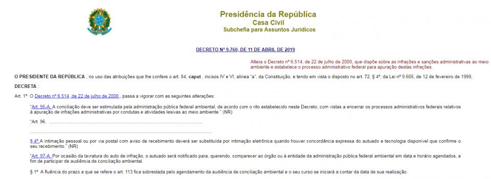 Decreto institui a conciliação ambiental e novas regras para conversão de multas