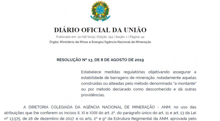 Publicada nova Resolução sobre estabilidade de barragens de mineração