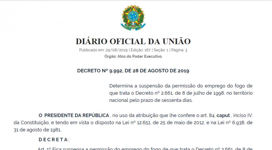 Decreto suspende uso de fogo em práticas agropastoris e florestais