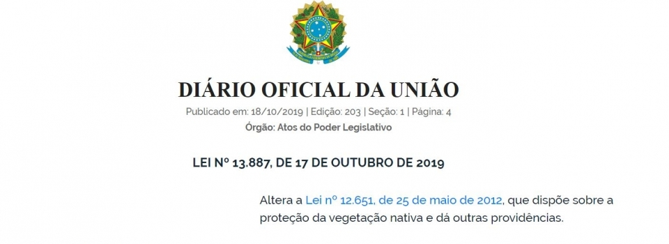 Lei publicada regulamenta o CAR e PRA
