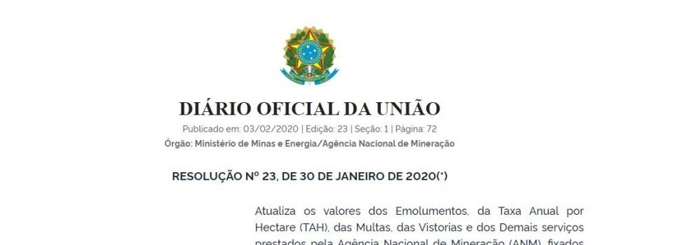 Resolução atualiza valores de emolumentos de serviços prestados pela ANM