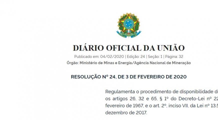 ANM publica Resolução que regulamenta o procedimento de disponibilidade