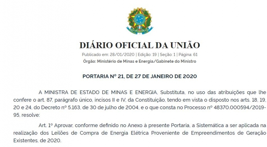 MME publica Portaria que apresenta a Sistemática que será aplicada na realização dos Leilões em 2020