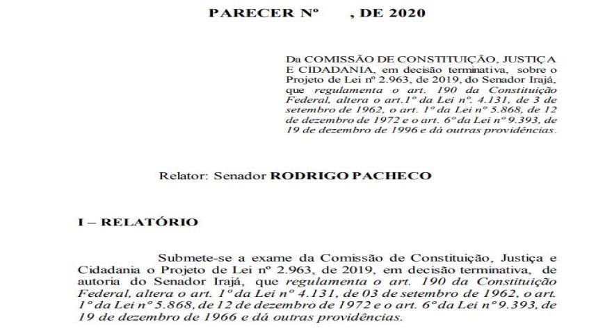 Relator da CCJ apresenta parecer ao Projeto de Lei que regulamenta venda de imóvel rural para estrangeiros