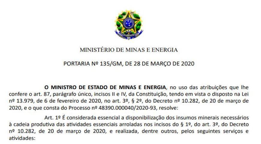 Atividade minerária é considerada essencial pelo MME