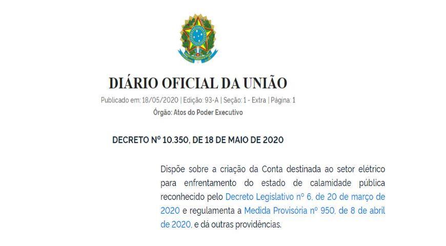 Novo Decreto cria medidas para redução dos impactos do COVID-19 no setor elétrico