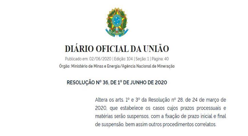 Suspensão de prazos processuais é prorrogada pela ANM