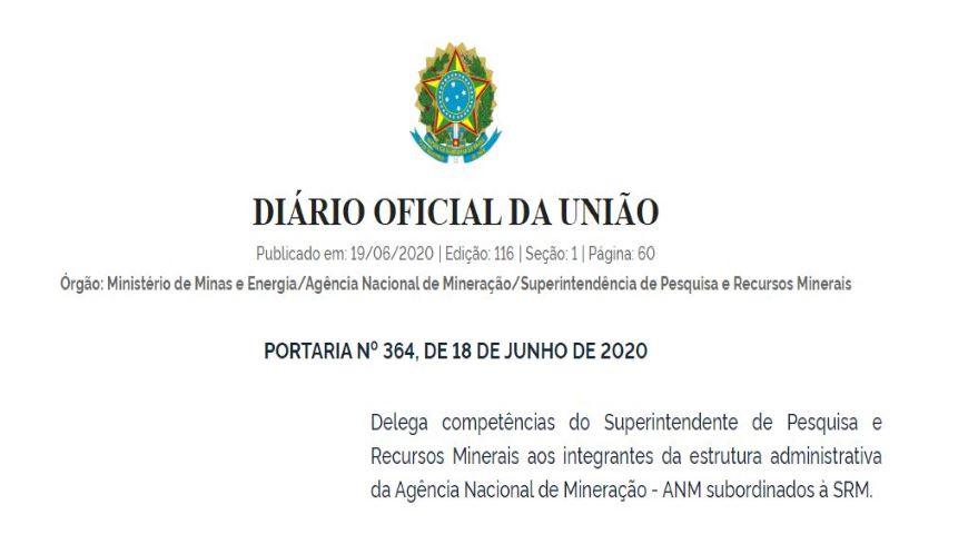 Portaria delega competências aos integrantes da estrutura administrativa da ANM subordinados à SRM